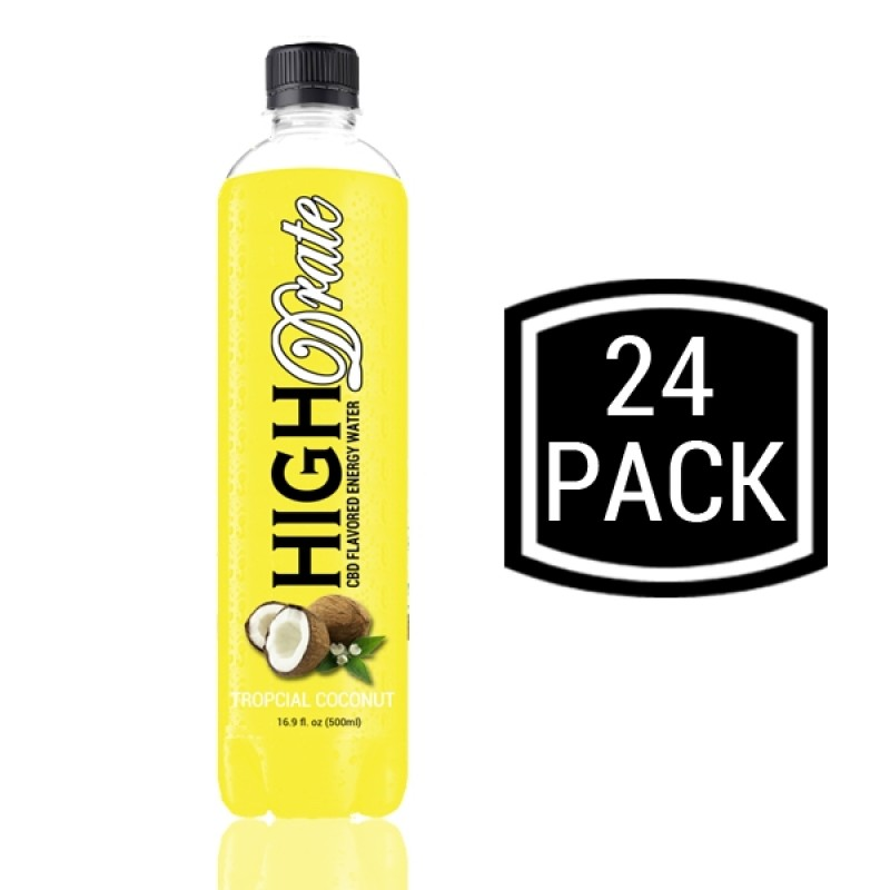 CBD Flavored Energy Water - Tropical Coconut - 24 Pack